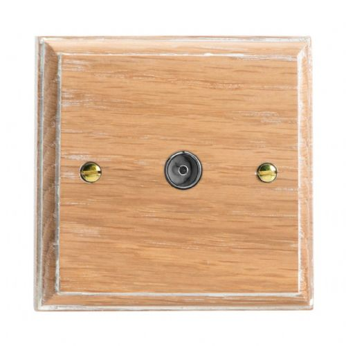 Varilight XK8LO Kilnwood Limed Oak 1 Gang Co-Axial TV Socket